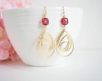Dark Pink Glass Jewel Dangle Earrings Gold Swirl Drop Filigree Pendants Modern Earrings. Wedding Bridal Bridesmaid Maid of Honor Earrings