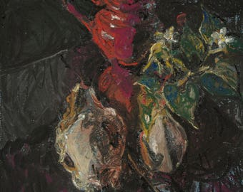 Still life with red pot, deer skull and flowers on a vase