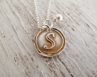 Wax Seal Necklace, Initial Jewelry, Copper Patina, Hand Stamped, Fine Silver