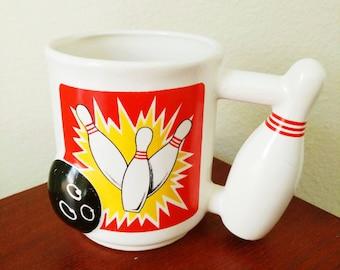 1980s 3D Vintage bowling coffee mug!