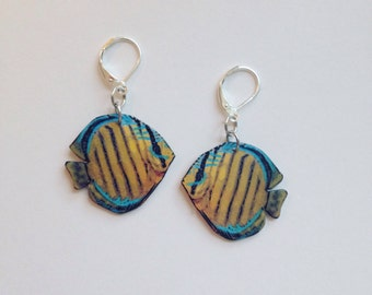 Handcrafted Plastic Brown Discus Tropical Fish Earrings Gifts for Her dis18a
