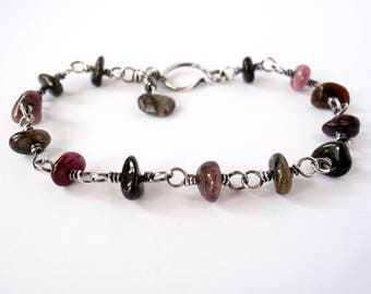 Tourmaline Bracelet ~ Handcrafted with Eco-Recycled Sterling Silver ~ Natural Multi-Coloured Gemstones ~ Black Pink Olive Lilac Silver