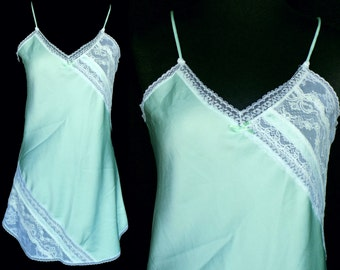 Vintage Texsheen Mint Green Nightie Size Small 1960s Chemise