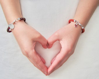 5mm Coral Bracelet with Sterling Silver Heart Charm