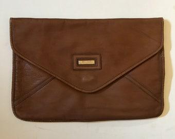 Vintage Zaragovia Leather Flap Envelope Clutch