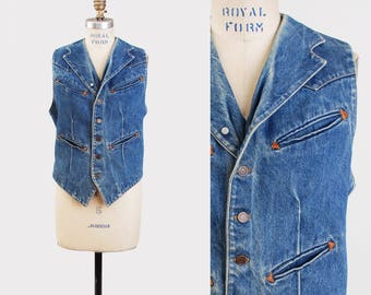 Vintage 70s Ralph Lauren Polo WESTERN Denim Vest Blue Sleeveless RRL Jean Jacket Top 1970s Boho Hipster Faded Button Up Small