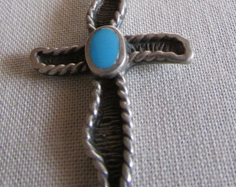 Sterling Silver and Turquoise Cross Pendant