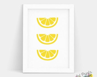 SALE Lemon Print, Lemon Decor, Lemon Wall Art, LEMON, Kitchen Print, Lemon Art Decor, Food Print, Food Decor, Kitchen Fruit Art, Half lemon