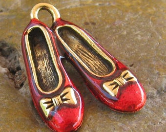 Dorthy Wizard of oz Slippers Shoes Ballerina Slipper Charms Finding Antique Gold and Red 995 - 50 Pieces