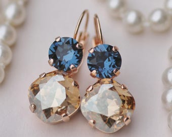 Montana Navy Blue Champagne Drop Earrings,Swarovski Cushion Cut Earring,Rounded Square,Navy Blue Wedding,Golden Shadow,Rhinestone Crystal