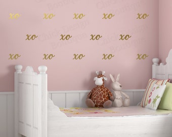 XO Colored Vinyl Wall Decals (Metallic Gold, Mint, Black, Metallic Silver, Pink, Blue, Yellow, White, Other Colors Available)