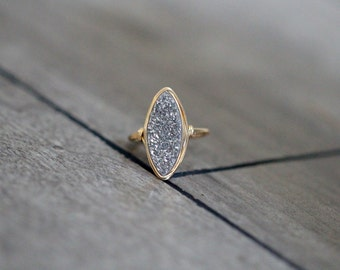 Druzy Cocktail Statement Ring ,  Platinum Gray Gemstone Marquis In Gold , Rose Gold , Sterling Silver , Boho Style