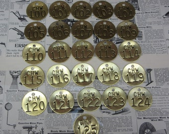 Lot of 26 Brass Tags Metal Number 100-125 Tags Stamped Tags Industrial Old Metal Tool Check Tokens vtg Salvaged Upcycle Jewelry Crafts Art
