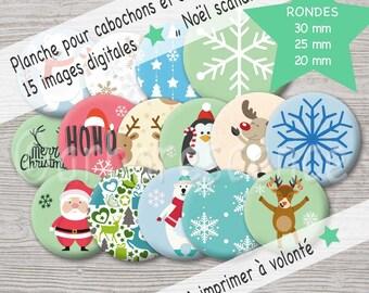 Scandinavian Christmas - picture digital diameter 20 / 25 / 30 mm