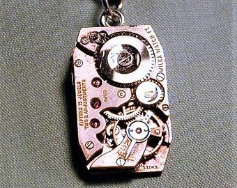 Steampunk Vintage Art Deco Era Wilka Watch Co. Watch Movement Pendant with Chain OOAK #46