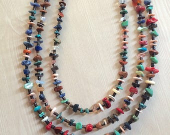 3 Strand Navajo Turquoise & Multi~Gemstone Necklace, Native American Jewelry, Southwest Indian Jewelry,Authentic  American Indian Necklace.
