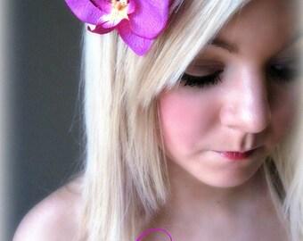 Exotic Orchid -  Purple Pink Tropical Hawaiian Flower Hair Clip Brooch Wedding Bride Party Luau
