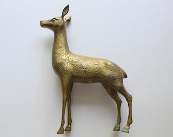Vintage Large Brass Spotted Doe Statue 1980s
