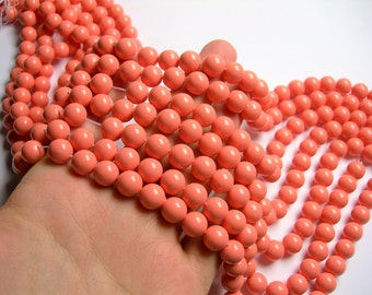 Pearl - 10 mm round - salmon pink  - 1 full strand - 40 beads - SPT11 - Shell pearl