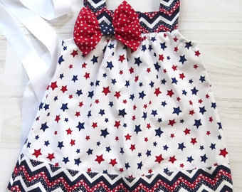 Patriotic Girl's Dress, July 4th Dress, Labor Day Dress, Military Home Coming, Red White Blue Sun Dress, Fourth of July Dress, Patriotic