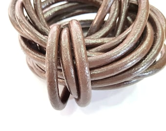 Brown Leather Cord 1mt-3.3 ft (7mm) Round Leather Lacing  G7595