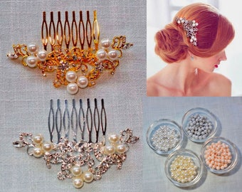 Your Choice of Pearl Colour -- Vintage Inspired Crystal Rhinestone & Pearl Bridal Hair Comb, Bridal, Wedding (Sparkle-701)