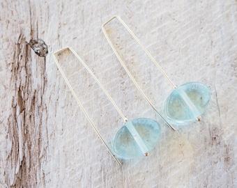 Earrings. Long earrings. Blue earrings. Glass earrings. Modern earrings. Everyday earrings. Dangle earrings. Wine lovers. Gift for wife.