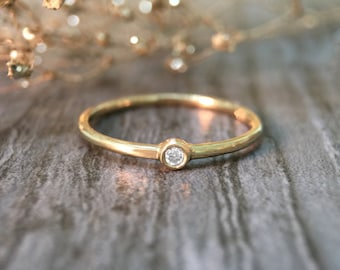 0.03CT Diamond Solitaire <Bezel> Solid 14K Yellow Gold (14KY) Stackable Ring *Fine Jewelry* (Free Shipping)