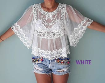 Sheer romantic Gypsy bride with mesh blouse/Romantic Lace Blouse/ Bell Sleeve Blouse.