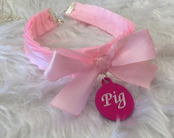 Pink Pig Engraved Personalised BDSM Collar Kitten Play Charm Disc Tag Cosplay Choker Necklace Kitty Slave Anime Pet Sub Ddlg ABDL Submissive