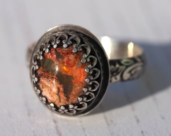 Fire Opal Ring - Distressed Sterling Silver Mexican Fire Opal ring - US size 7 1/2 - silver boho Mexican Boulder Opal ring - US size 7.5