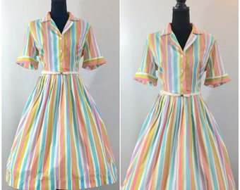 Carousel Vintage Dress, Disneybound,Striped Dress, Dapper Day Dress, LVL Dress, Royal Wedding, Vintage Size Large, Pink Dress, Tea Length