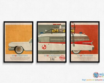 Ghostbusters Movie Poster/Print - Ecto 1 Car Mondo Style Poster Artwork