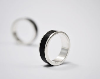 Black Wedding Band, Sterling Silver, Stone Inlay,  Man Ring