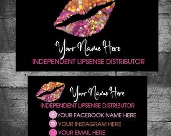 Lip sense Business Cards, SeneGence Business Card, LipSense Contact Cards, Lipsense Cards, Custom,Distributor, Printable, Digital Download