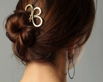Hair Fork Large Hair pin, Bun Holder Gold Brass Hair Fork for Thick Hair Accessories, Stick for Hair, For Large Hair, Metal Hair Fork,