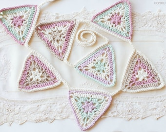 CROCHET PATTERN - Vintage Candy Shop Bunting, Crocheted Garland