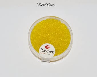 1 box x 2mm 17g clear luster - RAYHER - yellow seed beads