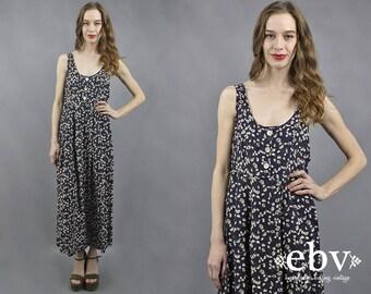 90s Floral Dress 90s Maxi Dress Floral Maxi Dress 90s Dress 1990s Dress 1990s Maxi Dress Soft Grunge Dress Navy Floral Dress Summer Dress M