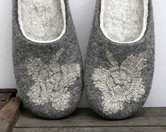 Unique eco luxury hand crafted felt slippers/ Clover for Cinderella/ felted wool slippers with hand weaving linen flowers are MADE TO ORDER