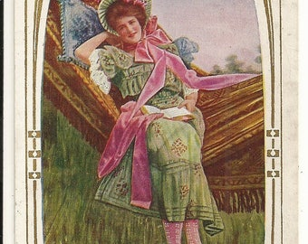 "Early 1900s Divided Back DB Postcard: Beautiful Young Lady Reading on Hammock, ""Thinking of You"", Romance, Pinup, Pin-up - Free Shipping"