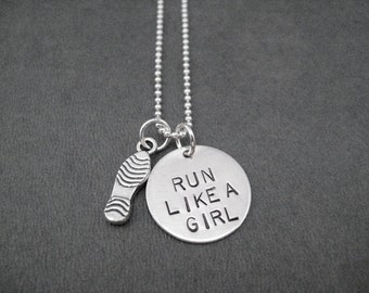 RUN Like a GIRL with Run Shoe Sterling Silver Necklace - Choose Your Running Shoe - 16, 18 or 20 inch Sterling Silver Ball Chain - Run Girl