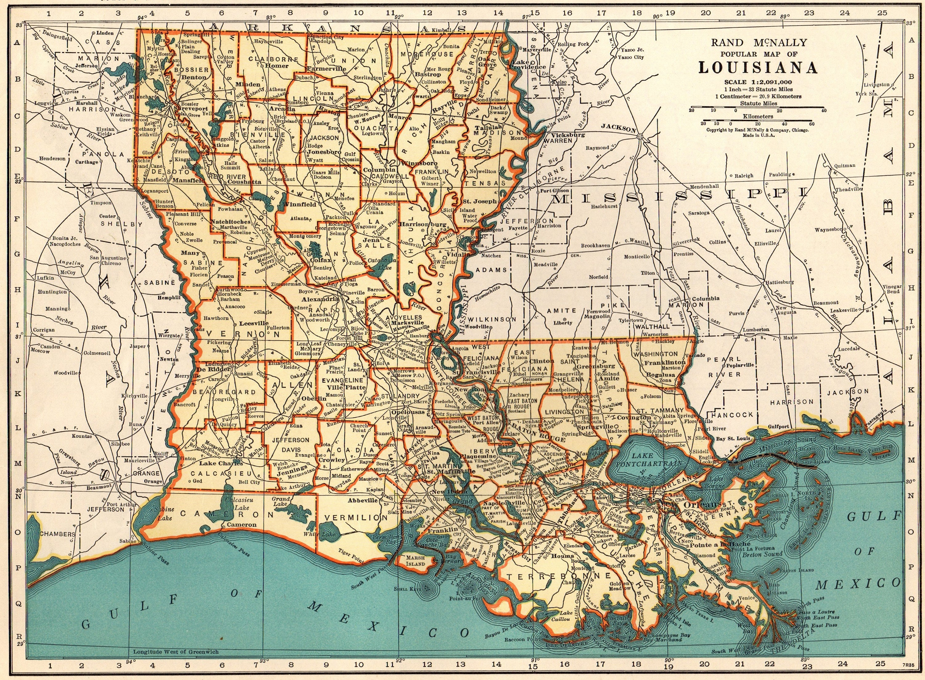 1940 Vintage LOUISIANA Map of Louisiana State Map Gallery Wall