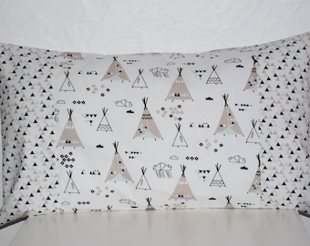 Pillow cover nursery decor boy - 50 x 30 cm - Patchwork fabric - multicolors tones
