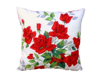 "Vintage Red Roses Pillow 14"" Cottage Decor Throw Pillow Granny Chic Red and White"