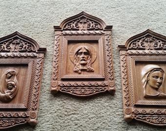Original Sacred Art Carving Set of Jesus and Mary