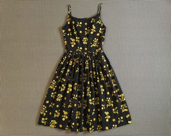 1960's, spaghetti strap, dress, in black, with green, yellow and orange flowers and gray polkadots, Women's size Small