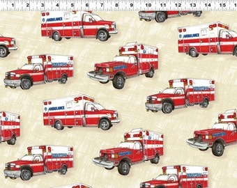 Paramedic Ambulances From Clothworks Fabric's Emergency! Collection by Eugene Warren Smith