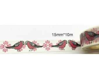 Washi tape (washi) - birds with arabesques