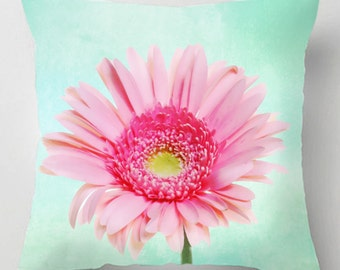 Pastel gerbera flower picture cushion / pillow